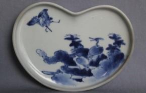 藍柿右衛門樹上鷺図変形皿 江戸時代中期