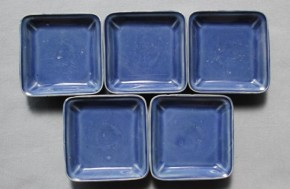 古伊万里瑠璃方形小皿 5枚 江戸時代後期