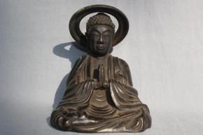 古銅合掌する鍍金坐像仏 江戸時代