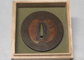 鍔(90)鉄地左右海鼠透象嵌大透鍔 江戸時代