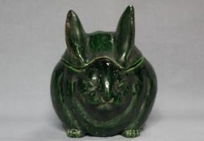 京焼緑釉うさぎ形香炉 江戸時代