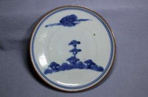 藍九谷染付小皿   江戸時代前期