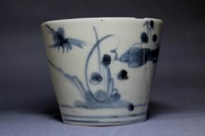 古伊万里梅竹雁文蕎麦猪口(206)   江戸時代中期(初期手)  本物保証