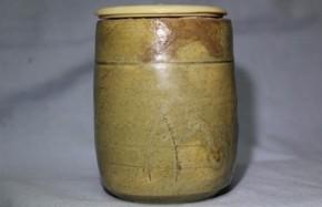黄瀬戸筒茶盌(アヤメ手) 桃山~江戸時代初期 伝世品