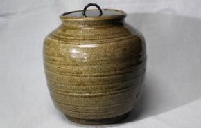 瀬戸灰釉水指 江戸時代中期