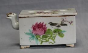 中国足付鳳凰口色絵筆洗 清朝時代