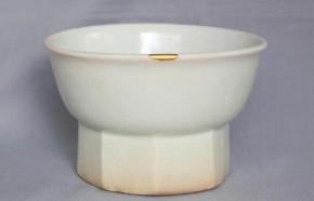李朝金沙里白磁台付鉢 李朝時代中期