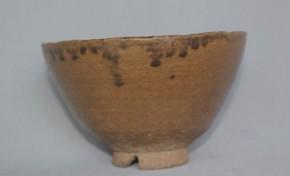 上野焼飴釉割高台茶碗 江戸時代
