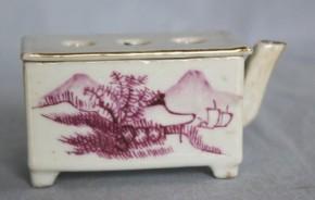 中国色絵山水図四足筆洗 清朝時代