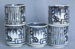 古伊万里竹形のぞき猪口 5個 江戸時代中期