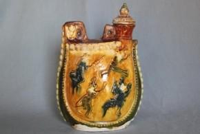 遼三彩扁壺 11世紀