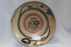 瀬戸鉄絵古印判絵皿 江戸時代中期