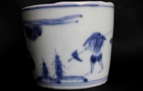 古伊万里雪中筍掘り図蕎麦猪口(75) 江戸時代後期