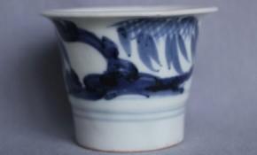 初期手岩柳文蕎麦猪口(82) 江戸時代中期