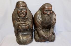 木彫アイヌ老夫婦坐像(1)   明治~大正時代