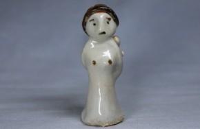 李朝白磁鉄釉明器母子人形   李朝時代初期   珍品