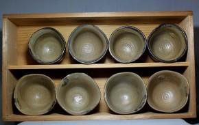 唐津皮鯨立酒盃4個と絵唐津立酒盃4個  計8個   江戸時代中期~後期