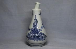 藍九谷手草図持手付小徳利   江戸時代前期  珍品  本物保証
