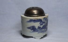 藍九谷手染付三脚香炉   江戸時代前期  銀火屋付  本物保証