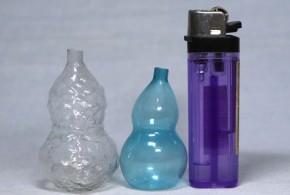 ガラス製ニッキ水入れ瓢箪形小瓶  2本  明治~大正時代