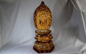木彫漆箔舟形光背台座   江戸時代