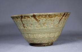 熊本古八代焼(高田焼)象嵌茶碗(1)   江戸時代前期~中期
