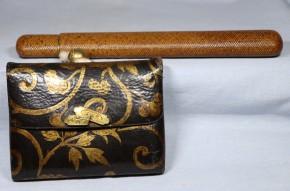 革製腰差煙草入.網代煙管入.銀製煙管   幕末~明治時代  無垢の金使用か