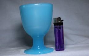 青色棗形氷コップ   大正~昭和時代  極小キズあり