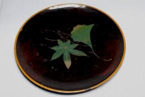浄法寺塗銀杏葉楓葉図皿(1)   江戸時代後期