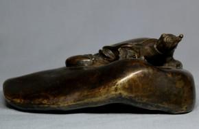 古銅製スッポン置物(紙押え)   江戸時代