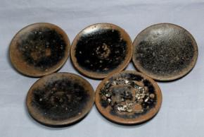 黒高麗豆皿  5枚  李朝時代初期