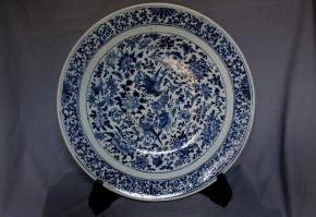 中国染付花鳥図大皿   清朝時代