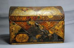 金唐革花鳥虫図箱(1)   江戸時代