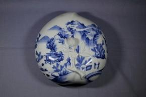 亀山焼桃型山水図蓋物   江戸時代後期