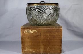 縁金カットガラス鉢(水差仕立) 明治時代  黒漆塗り蓋付