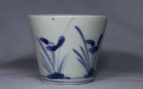 古伊万里並菖蒲文蕎麦猪口(270)  初期手  江戸時代中期  本物保証