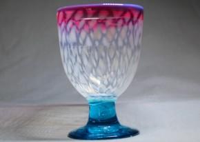 三色ガラス雪解け文なつめ型氷コップ  明治~大正時代  本物保証