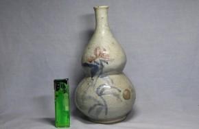 李朝染付辰砂瓢形大徳利(1)   李朝時代後期   本物保証  珍品