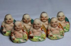 陶製小形布袋人形  7個   江戸時代~明治時代