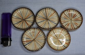 瀬戸焼麦藁手豆皿(3)5枚   幕末~明治時代