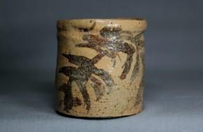 絵志野立酒盃(3)  江戸時代中期