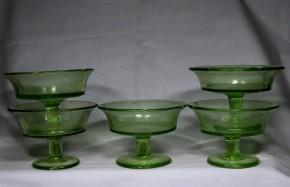 プレスガラスグリーン氷コップ(2)  5個    昭和初期~戦前