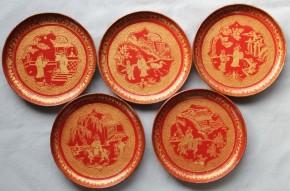 琉球漆器沈金銘々皿 5枚 江戸時代 時代箱入