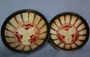 万暦朱泥皿(?) 大小2点  16~17世紀