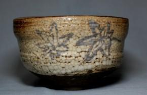 絵志野沓形茶碗   江戸時代後期