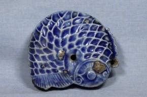 李朝瑠璃釉型物鯉形水滴   李朝時代後期