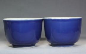 伊万里焼瑠璃碗  2個  明治時代