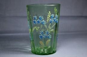 エナメル彩花文様面取ウランガラスコップ   19世紀