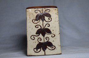 志野織部筒向付(1)   江戸時代初期   紫檀誂え蓋付