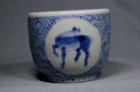 古伊万里微塵窓絵馬文コロ茶碗   江戸時代後期